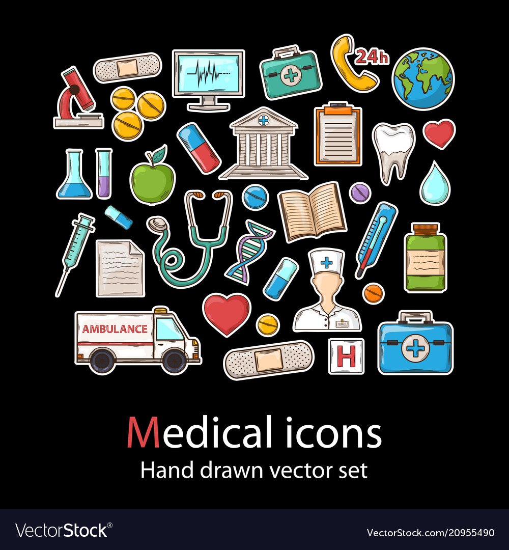 Medical icon setfashion patch badges collection