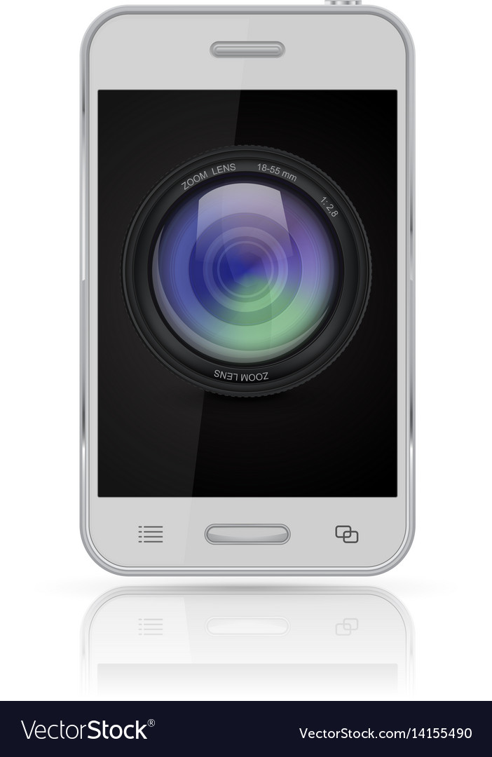 Mobile phone with camera lens icon on screen