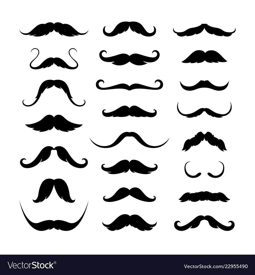 Mustaches icons set isolated symbol eps 10