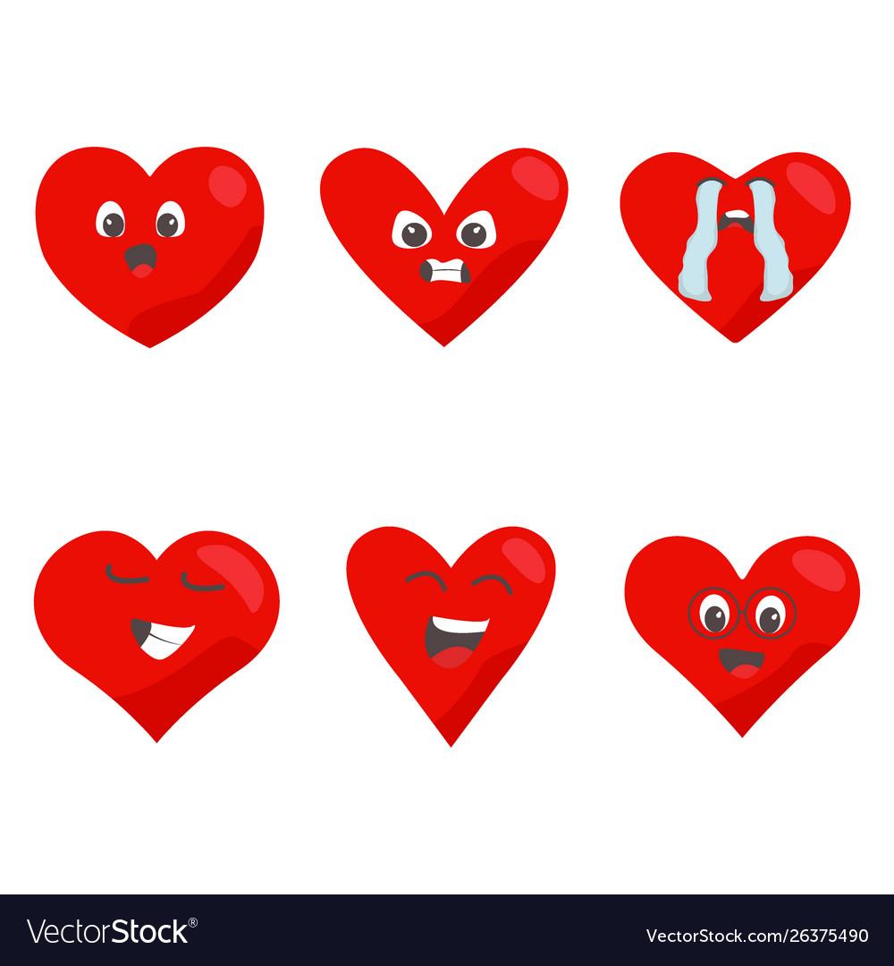 Red hearts icon set love symbol funny emoticon