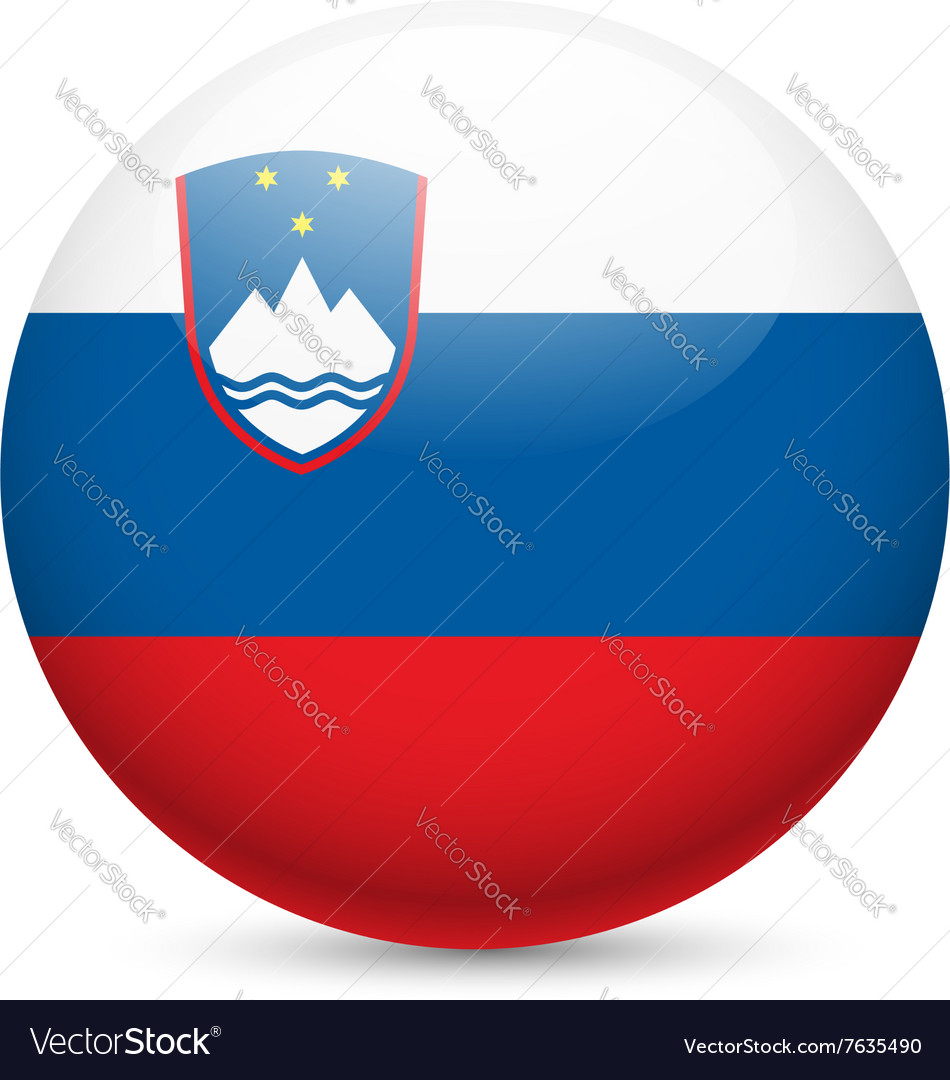 Round Glossy Icon Of Slovenia Royalty Free Vector Image
