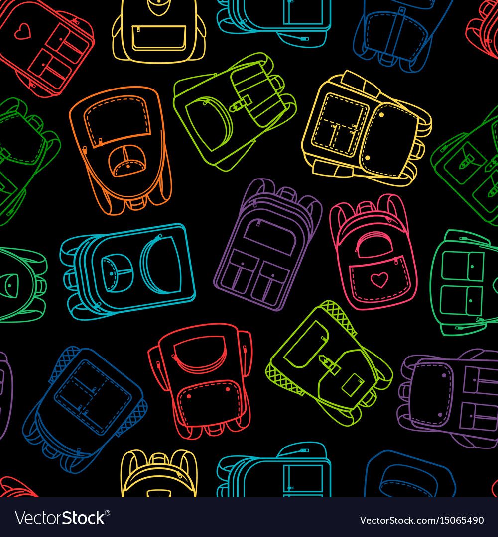 School pattern with linear colorful backpaks vector image