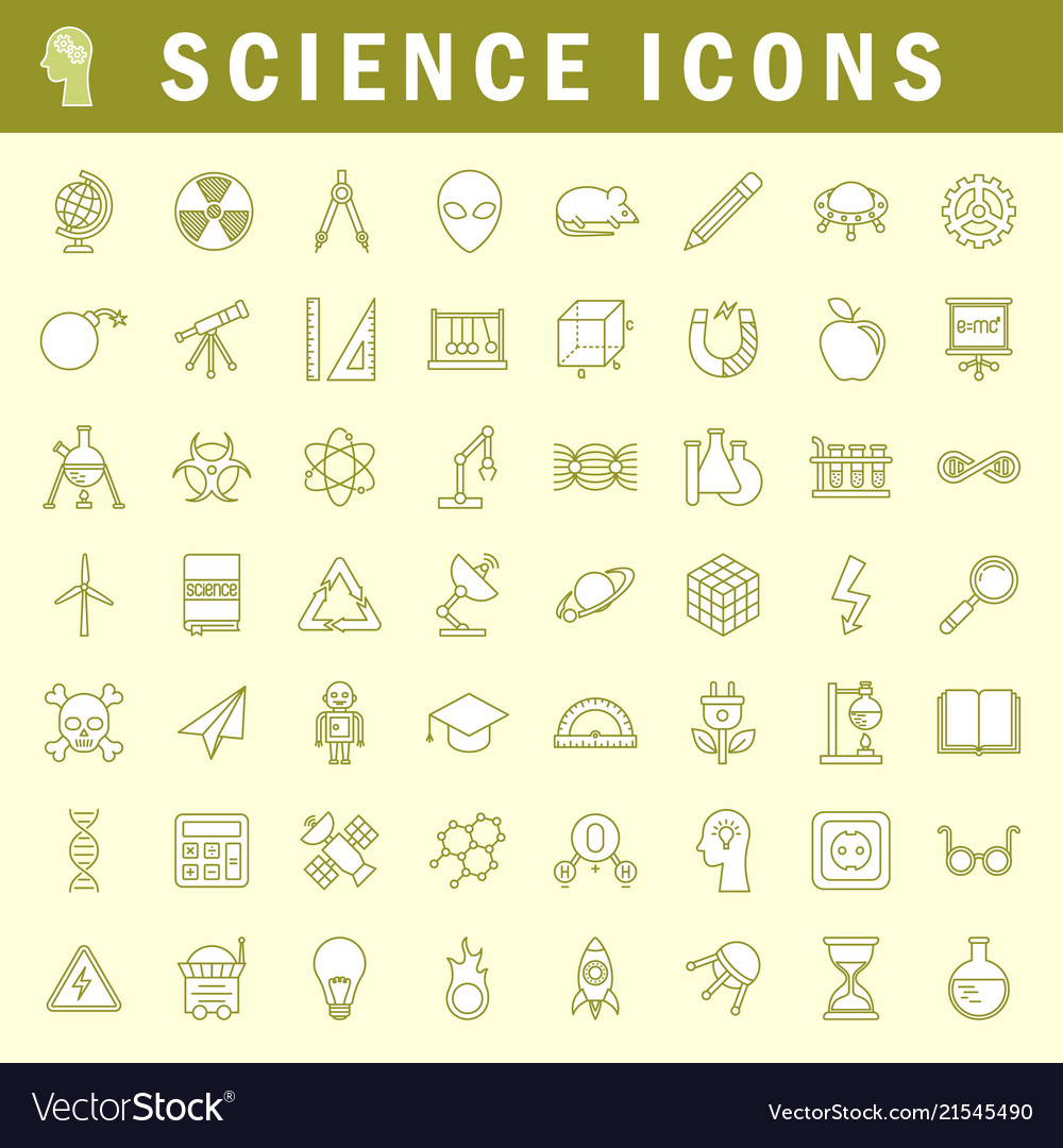 Science icons in trendy thin line style
