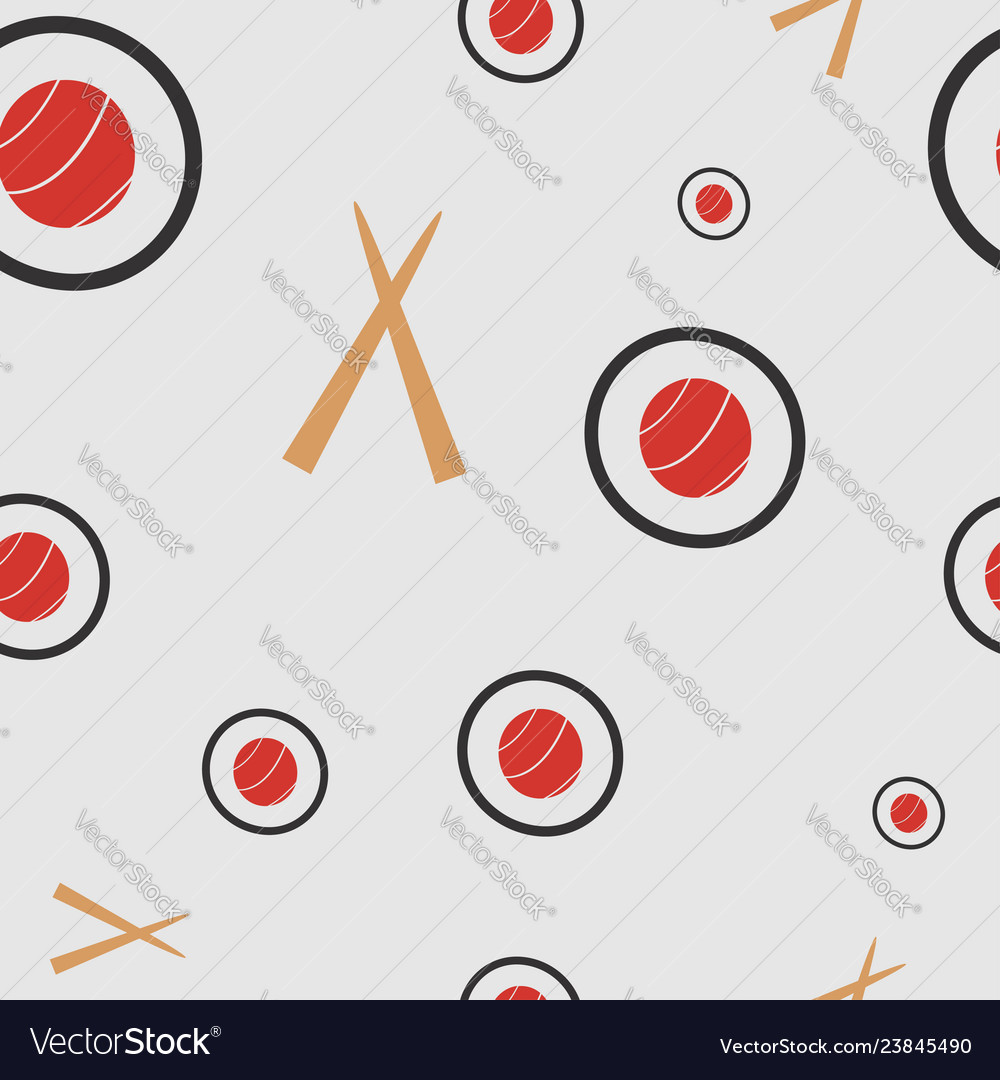 Seamless pattern with sushi and chopsticks