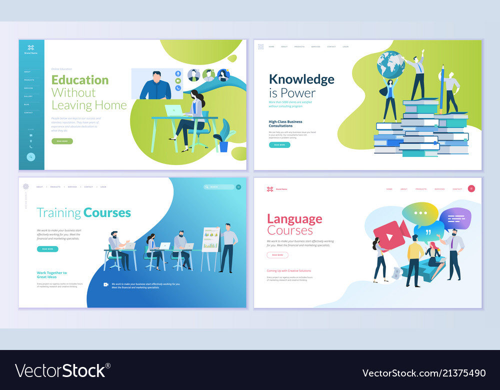 Set of web page design templates for education