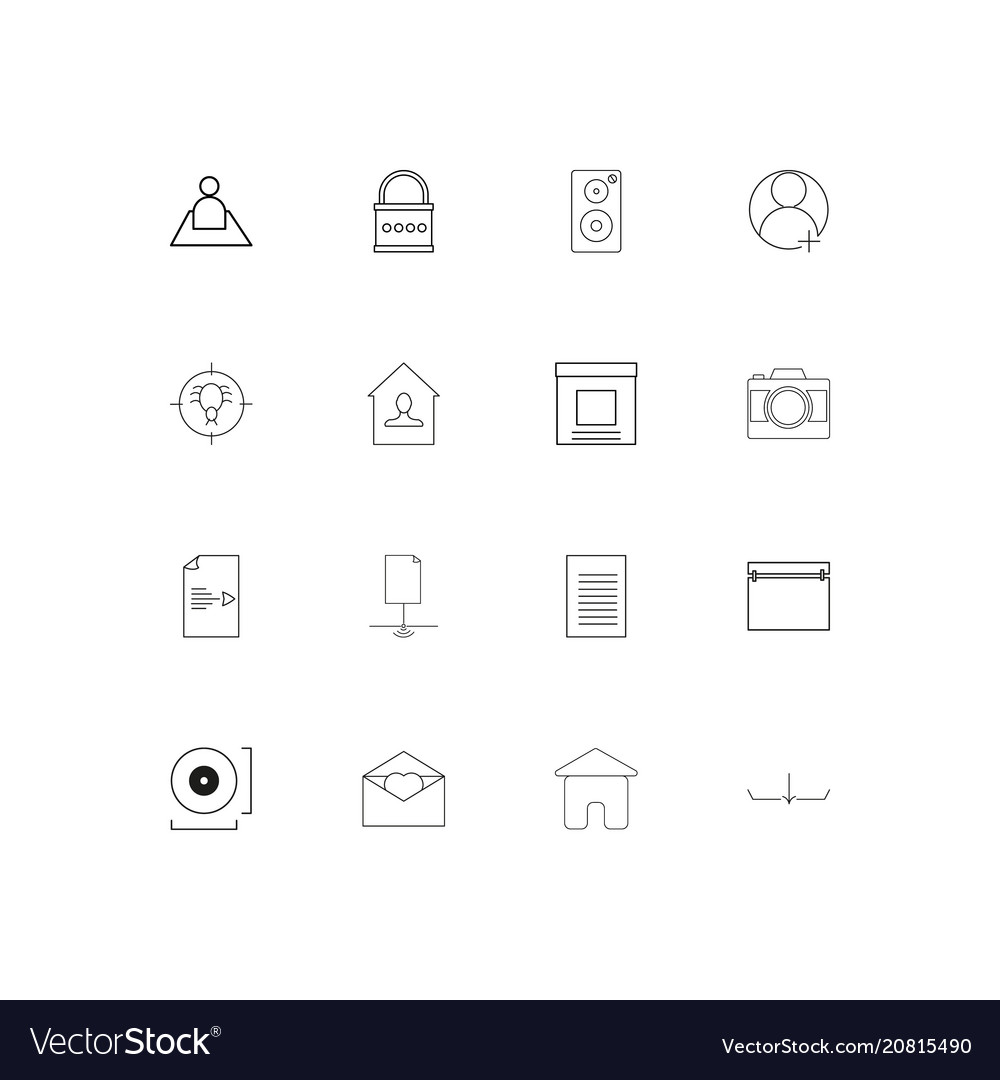 Signs and symbols linear thin icons set outlined