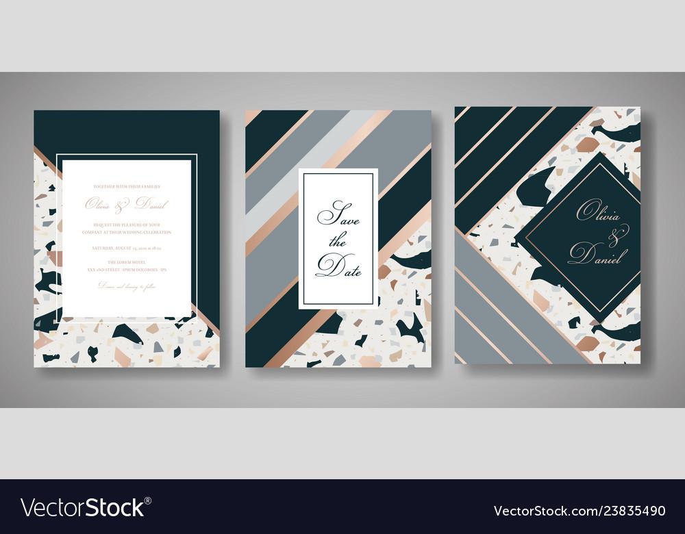 Terrazzo wedding invitation card set abstract