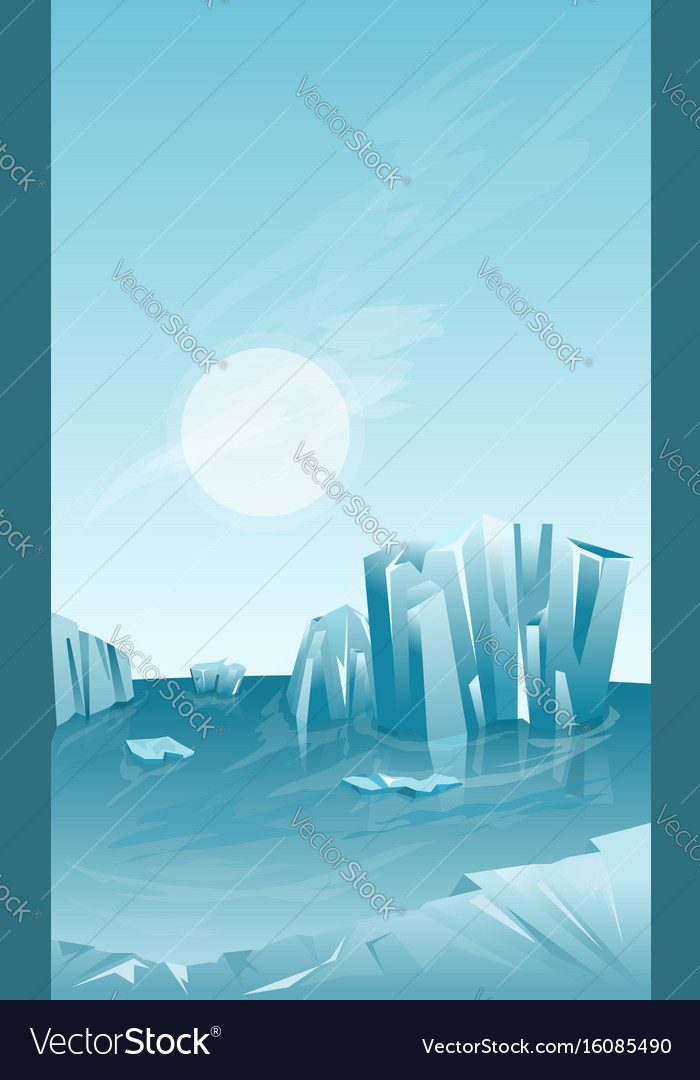 Winter landscape with iceberg vector image
