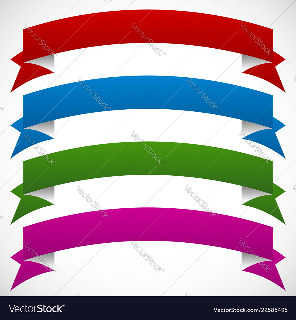 3d banners in 4 deep colors on white background