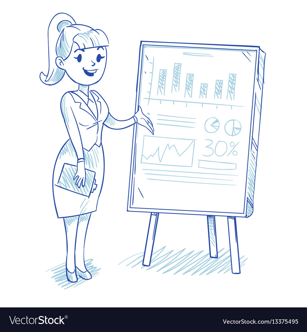 Businesswoman presenting business company vector image