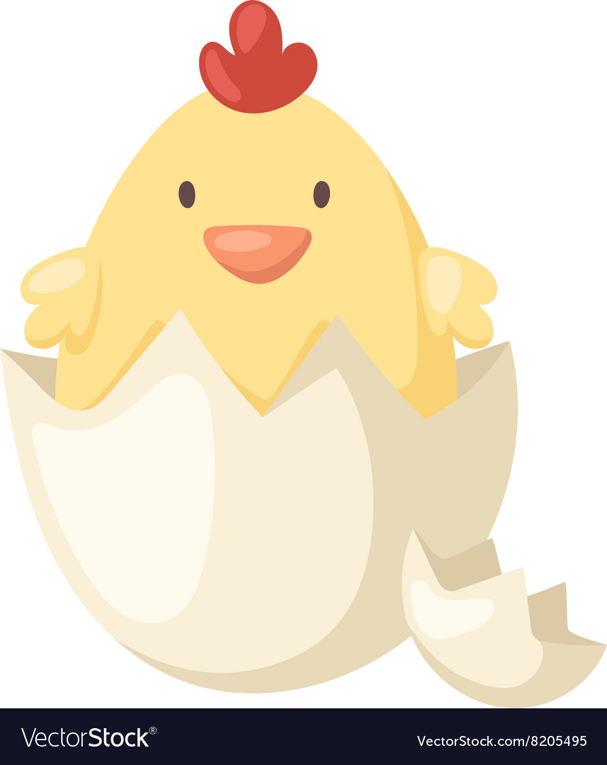 Cartoon yellow newborn chicken in broken egg