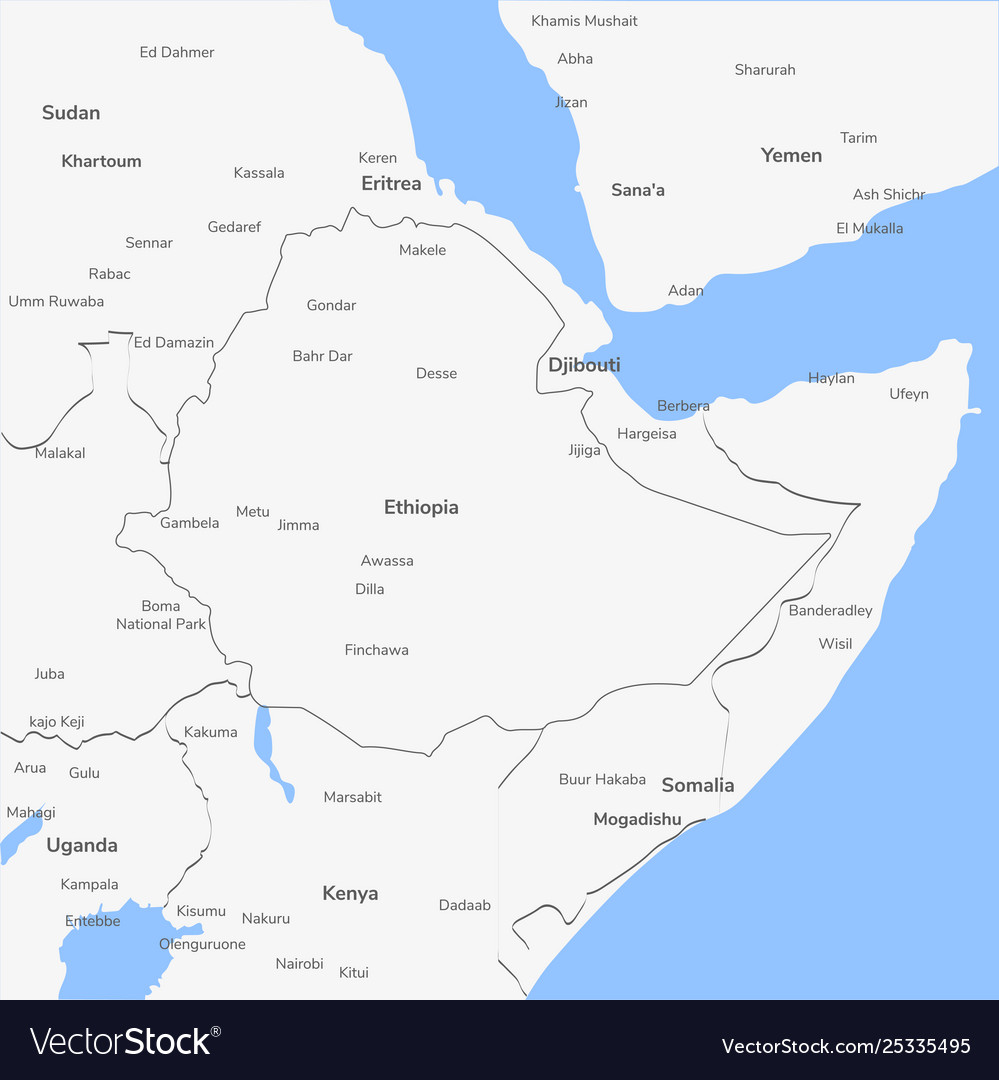 Detailed map ethiopia vector image