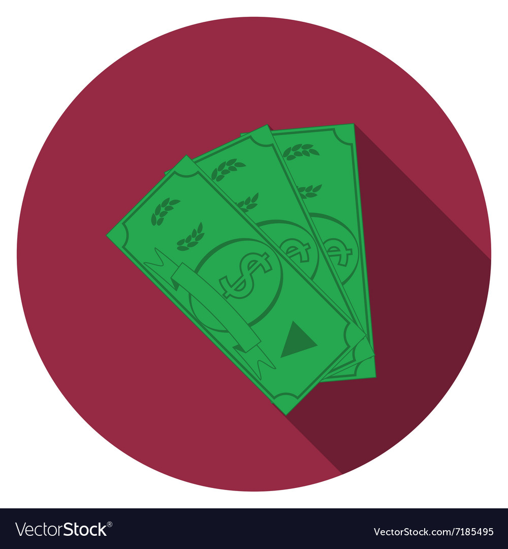 Flat design money icon with long shadow isolated