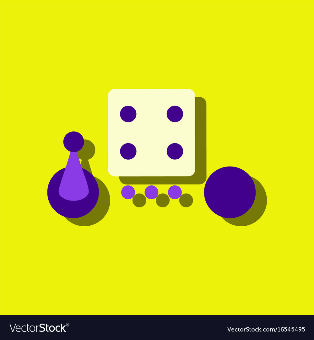 Flat Icon Design Collection Board Game Piece Dice Vector Image