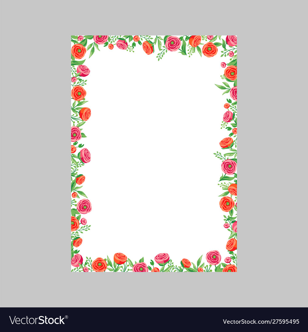 Floral wedding invitation card with rose and red