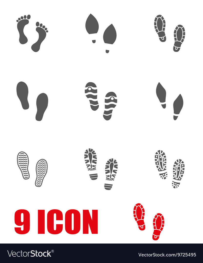 Grey shoes imprints icon set