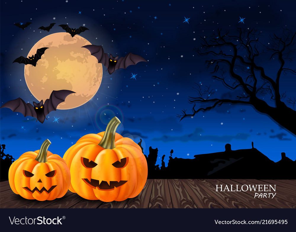Halloween card background with full moon and