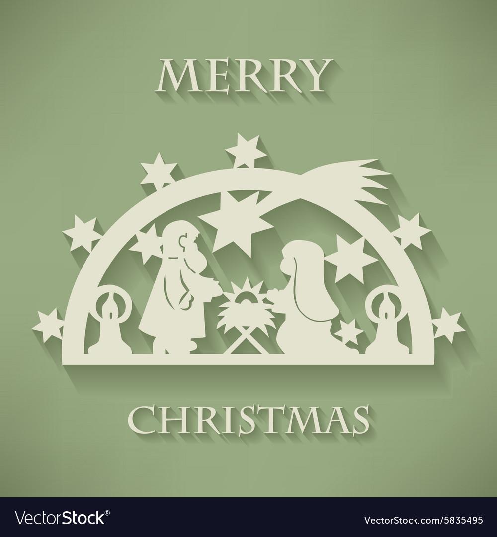 Nativity scene Paper cut Christmas background