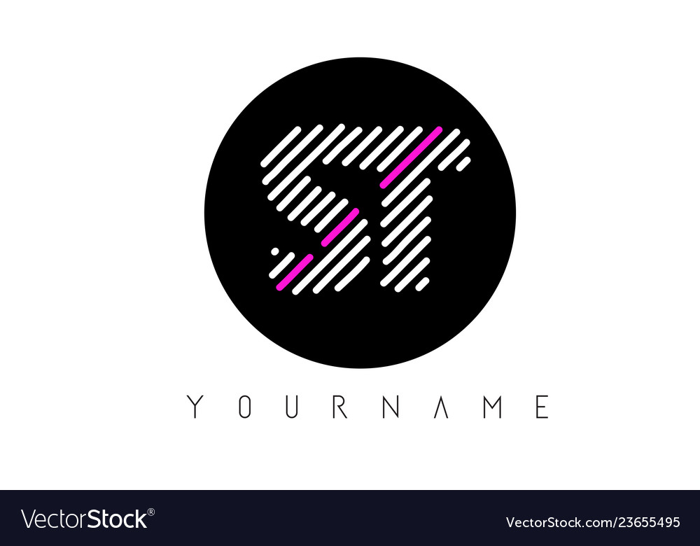 St Letter Logo Design With White Lines And Black