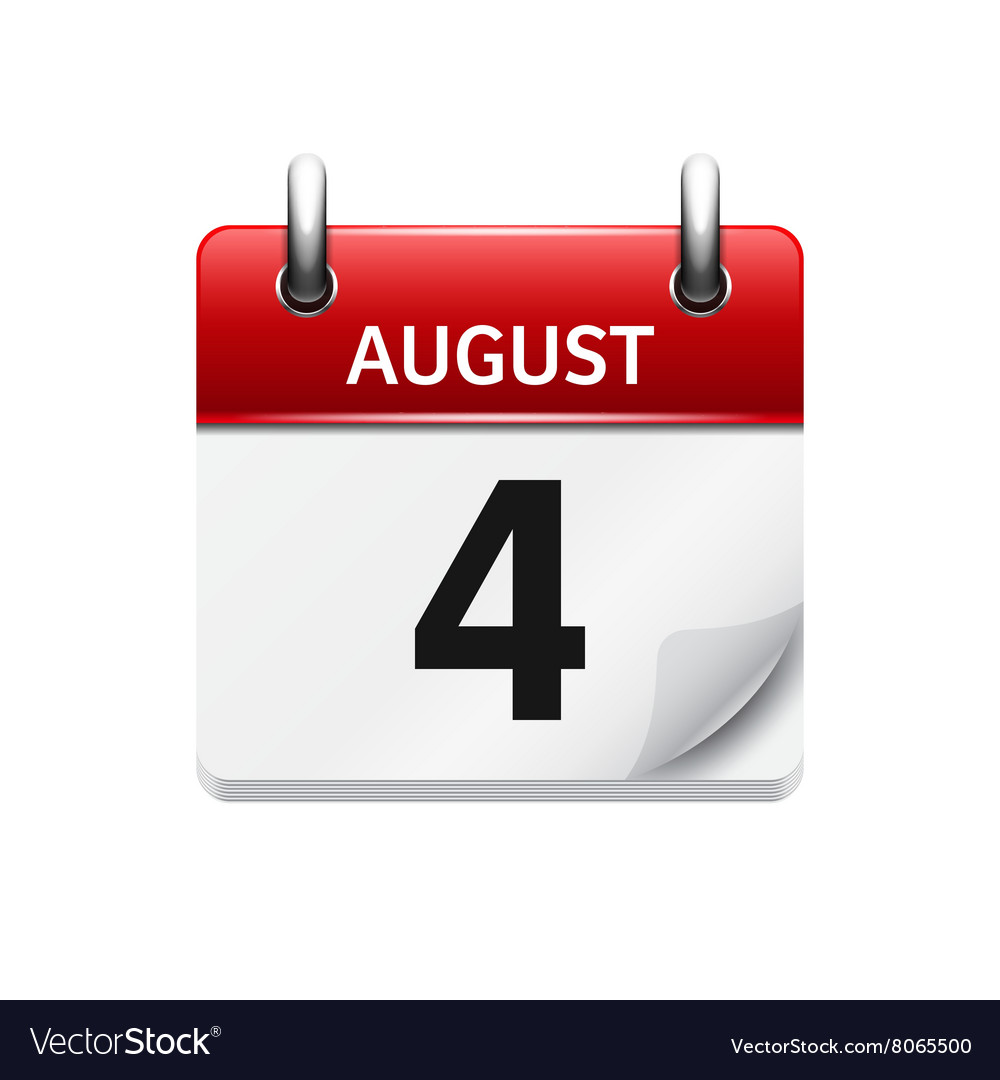 August 4 flat daily calendar icon Date