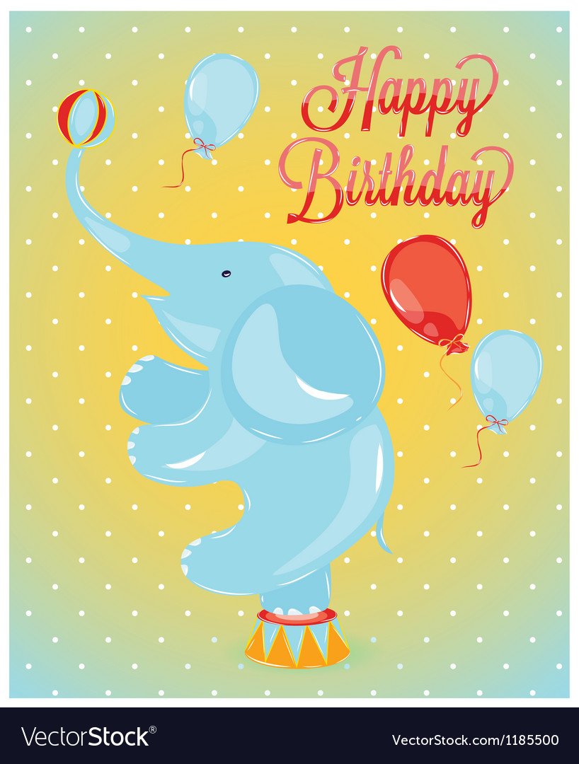 Birthday card elephant vector image
