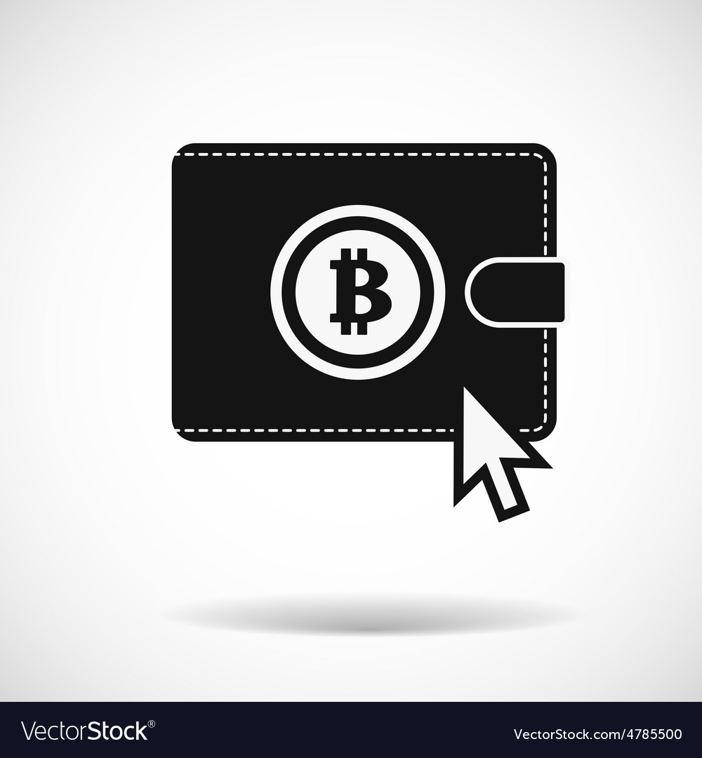 Bitcoin money purse icon with shadow on light