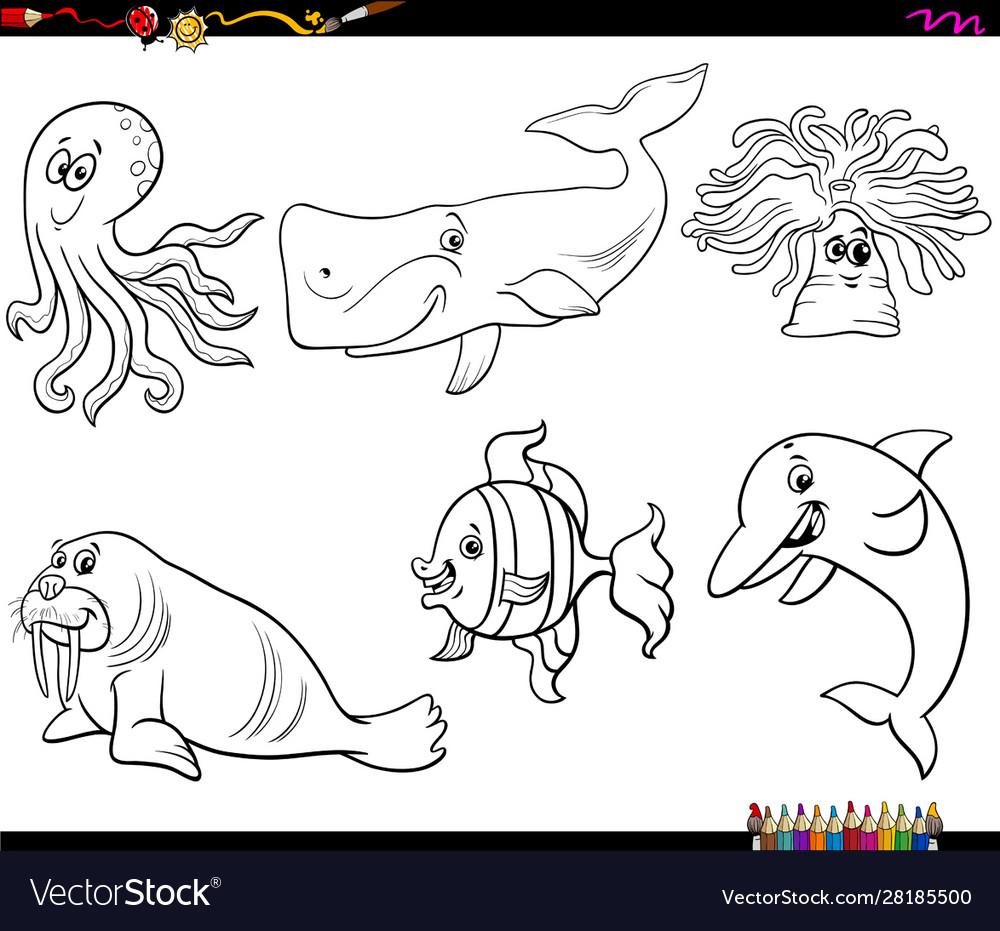Cartoon sea animal characters coloring book page