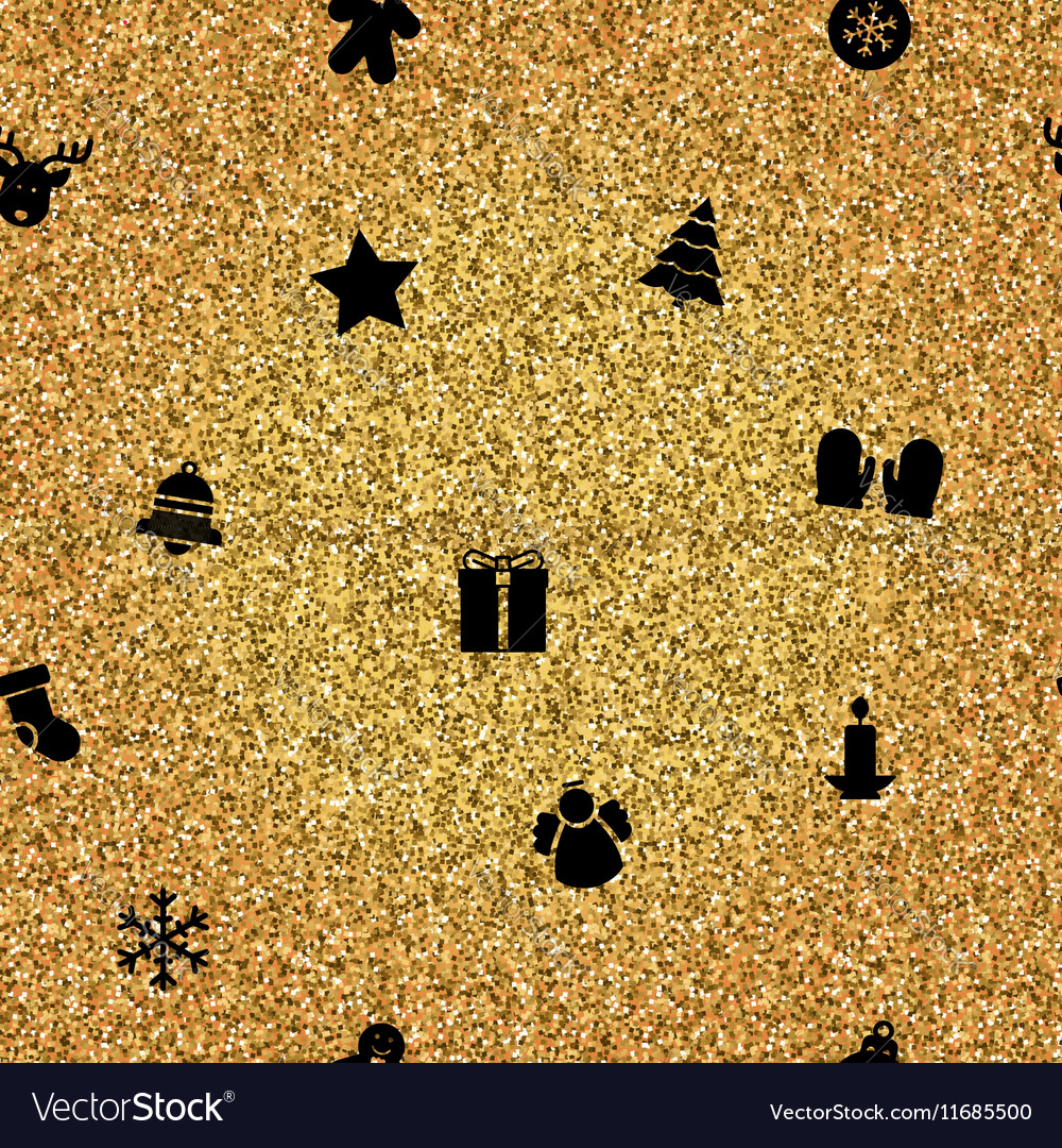 Christmas Objects on gold background vector image