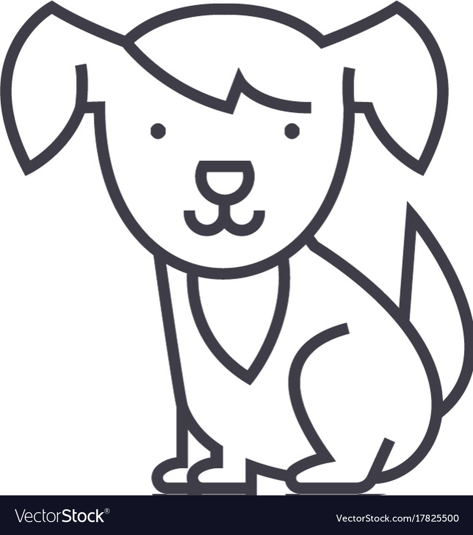 Cute dog line icon sign on