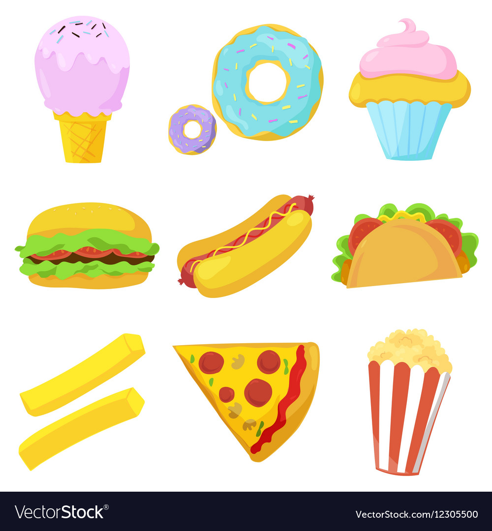 Cute Fast Food Icons Set