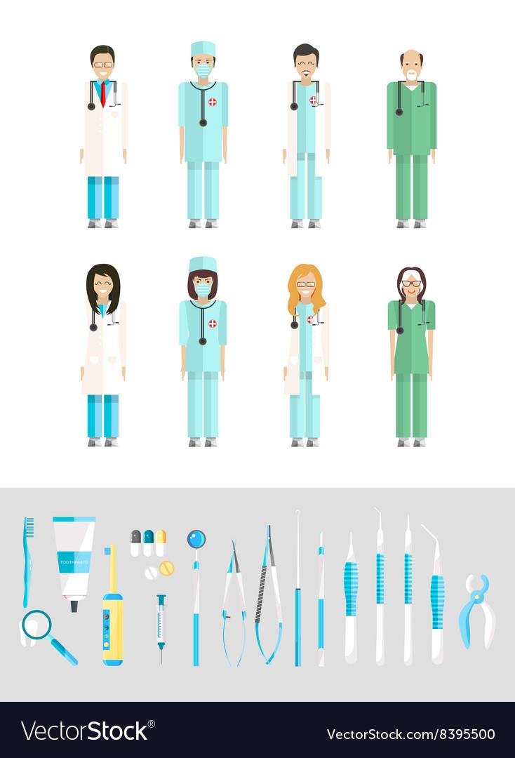 Dental set dentists instruments vector image