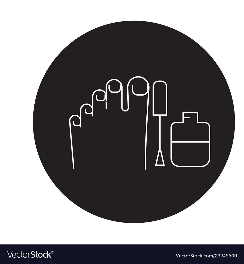 Gel polish pedicure black concept icon gel