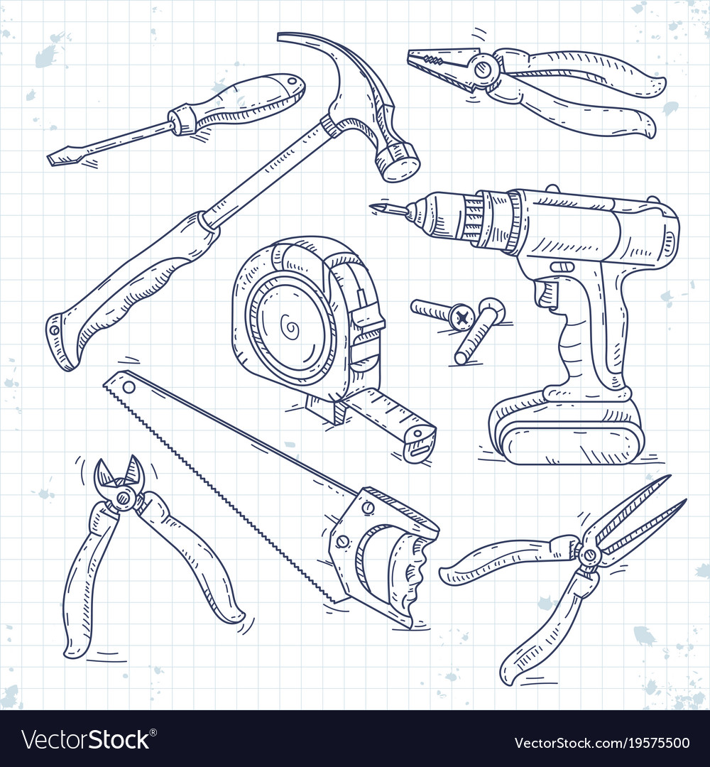 Hand sketch icons set of carpentry tools a saw