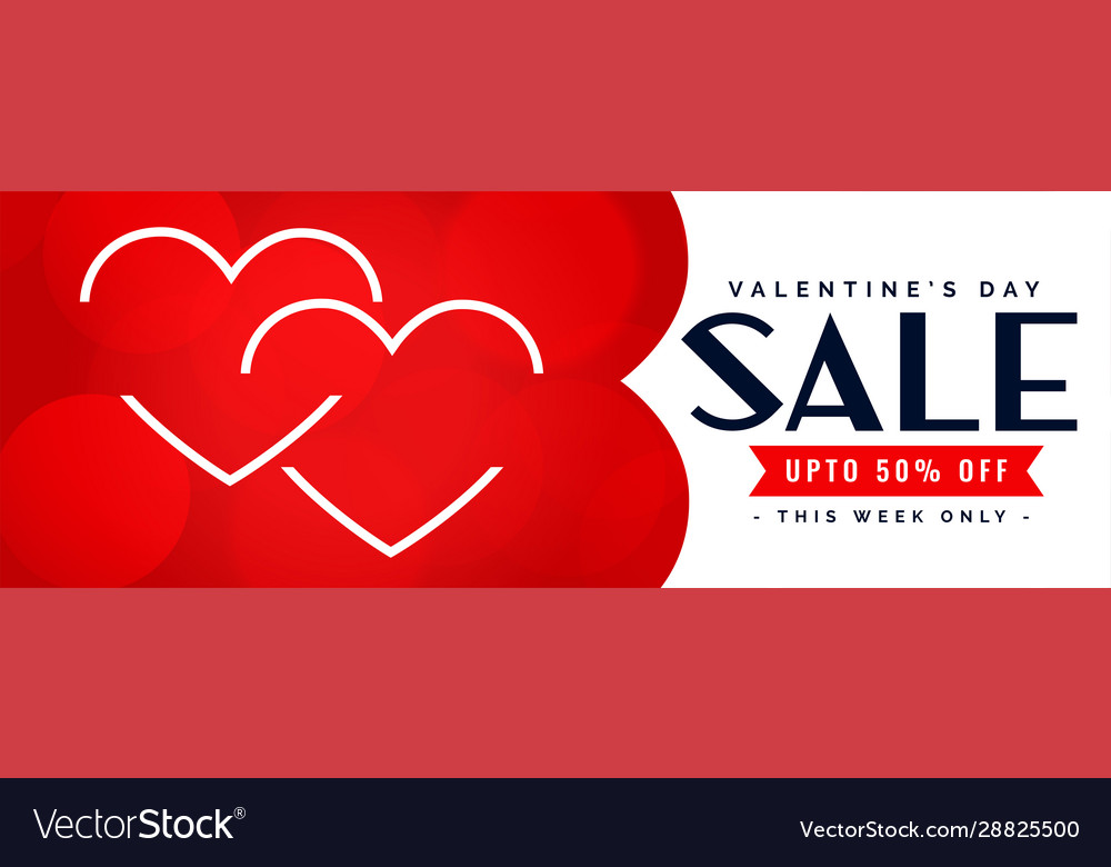 Happy valentines day sale and offer banner