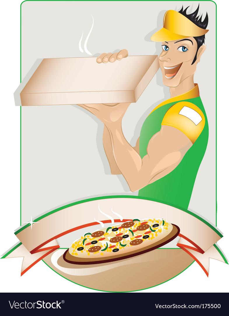 Pizza delivery boy vector image