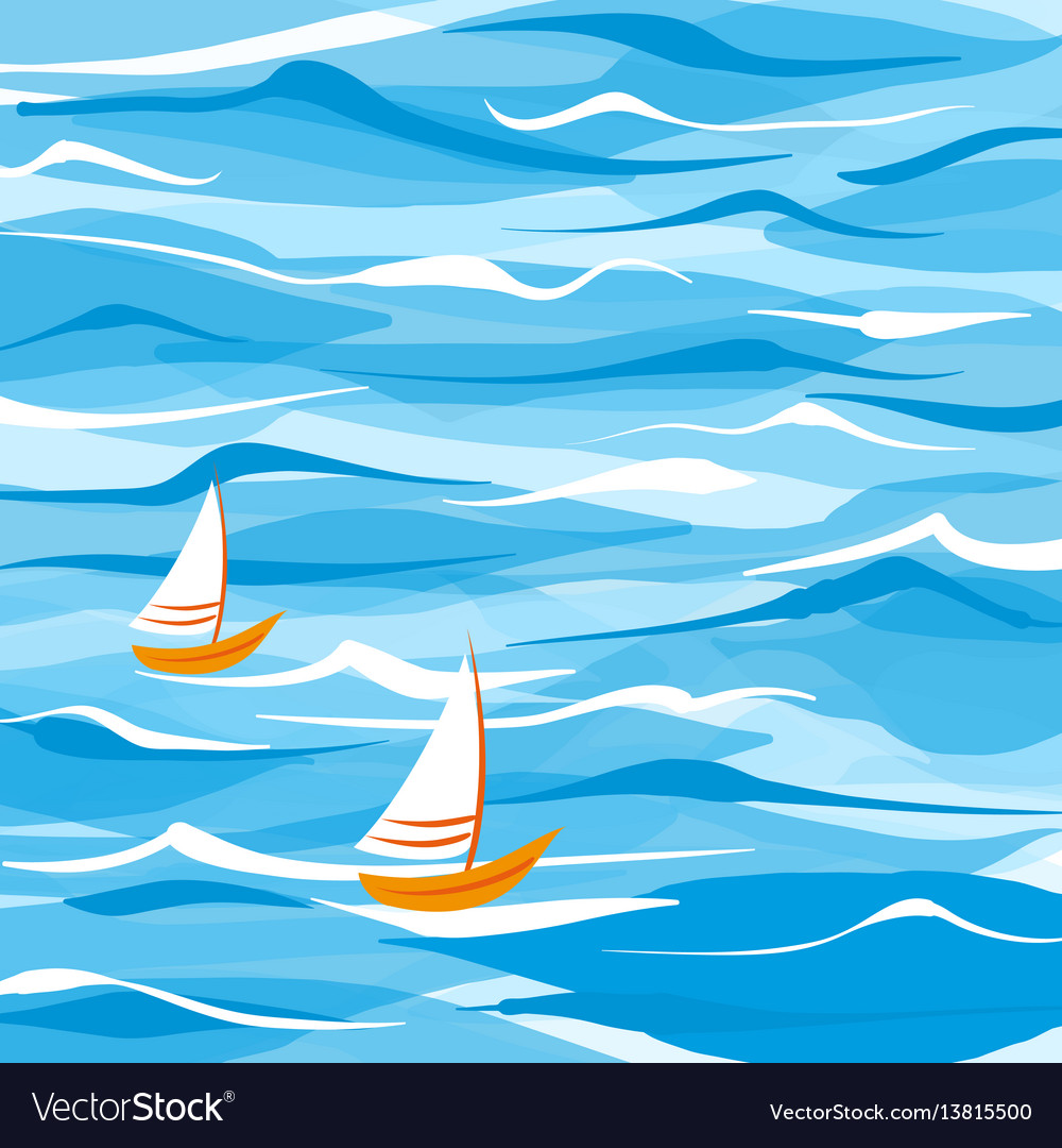 Sea background with two boats