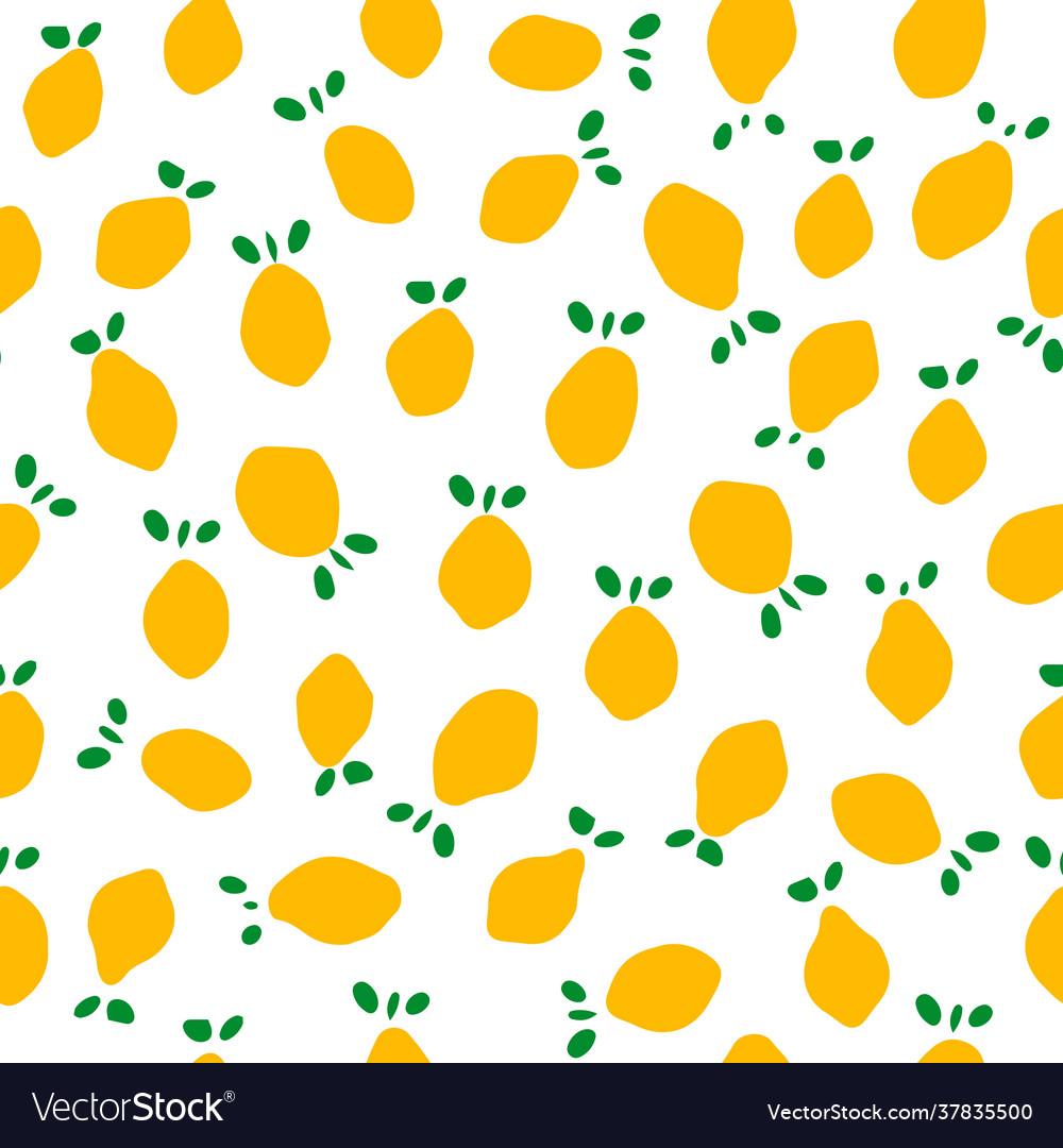 Seamless pattern with lemons flat minimalist cut