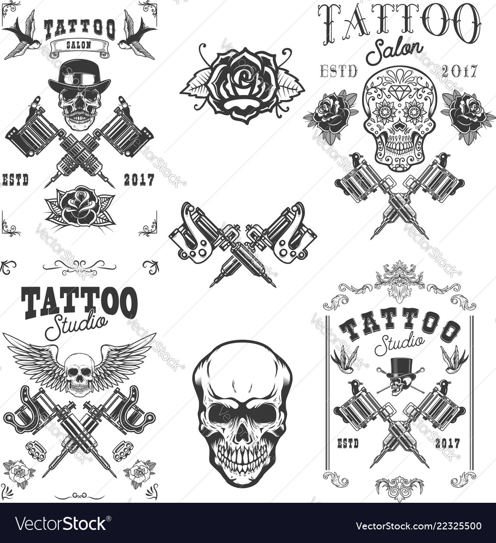 Set of tattoo studio emblems design elements for