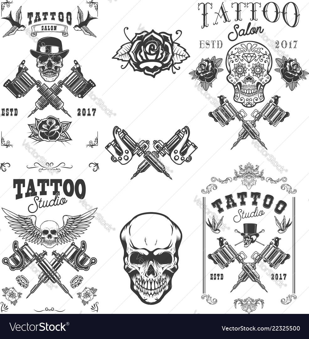 Set tattoo studio emblems design elements