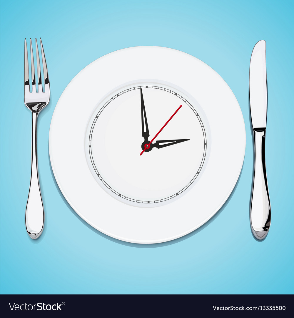 Time lunch cutlery dish knife and fork