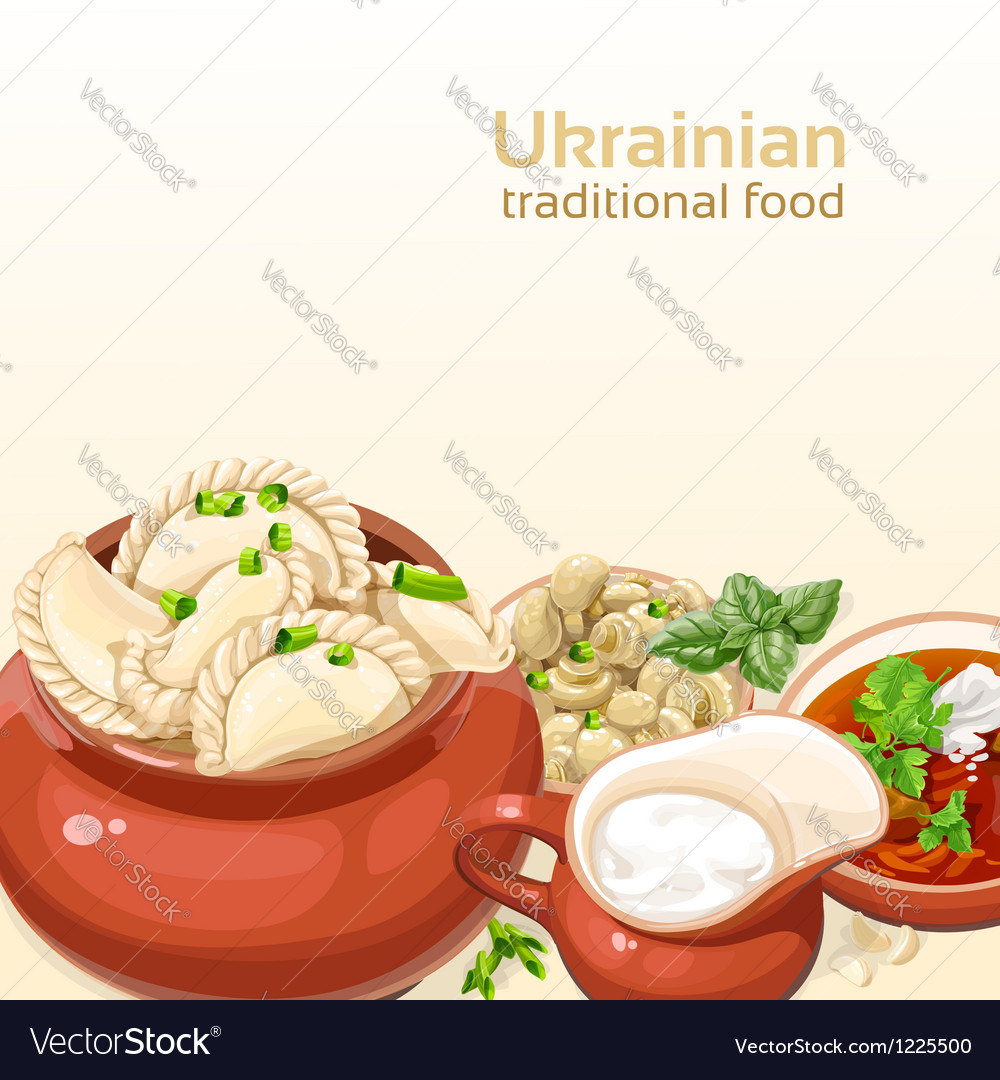 Ukrainian traditional food background vector image