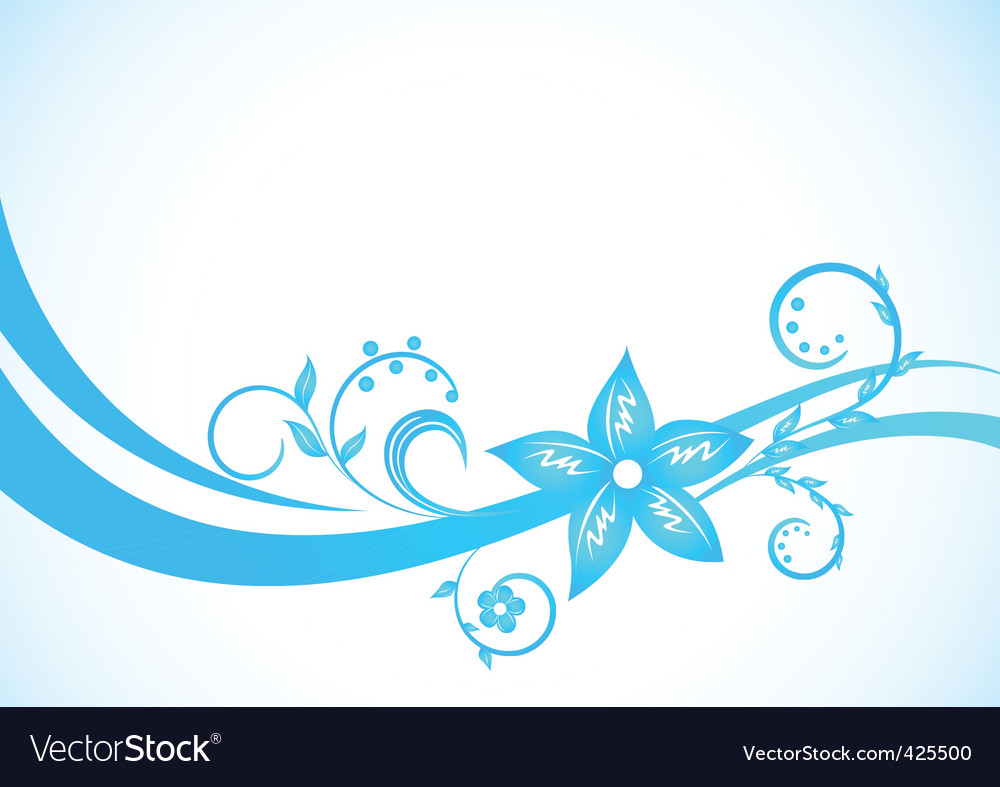 Vector Blue Floral Background Royalty Free Vector Image