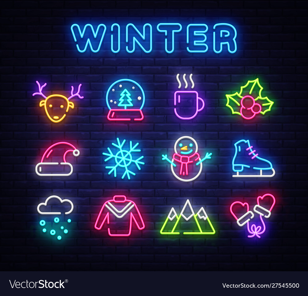 Winter neon icons set christmas neon signs design
