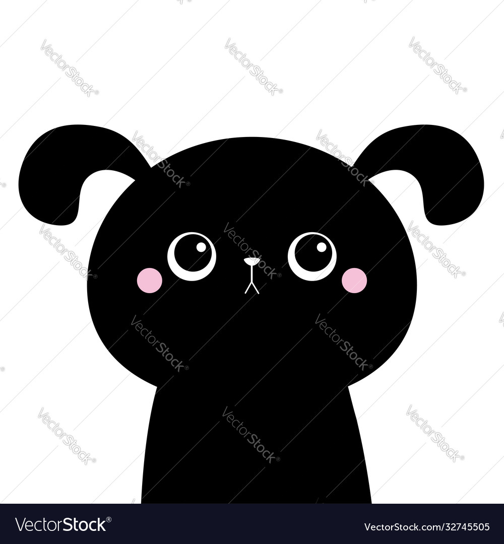 Black dog puppy silhouette icon cute kawaii