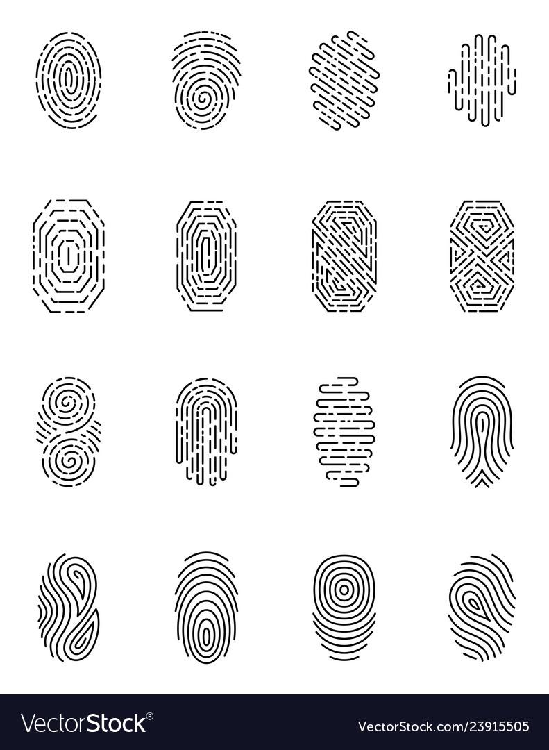 Black finger print set isolated on white