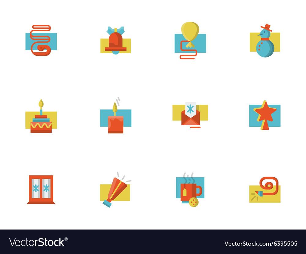 Christmas symbols flat color set