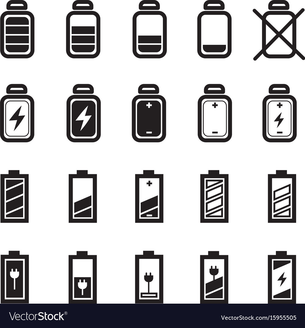 Flat battery icons set
