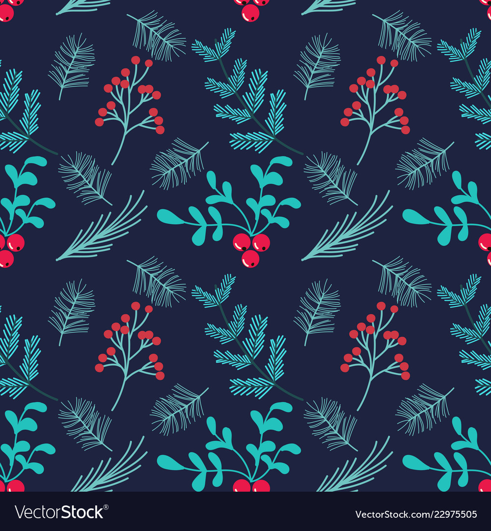 Hand drawn seamless patternwinter themed