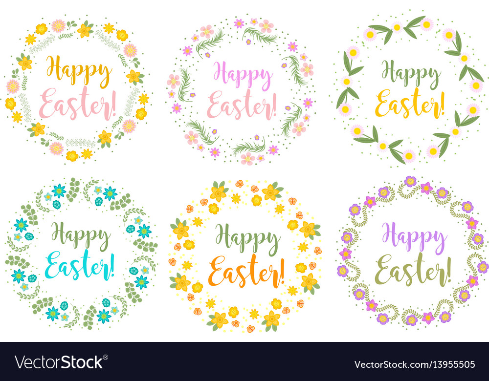 Happy easter set floral frame for text isolated