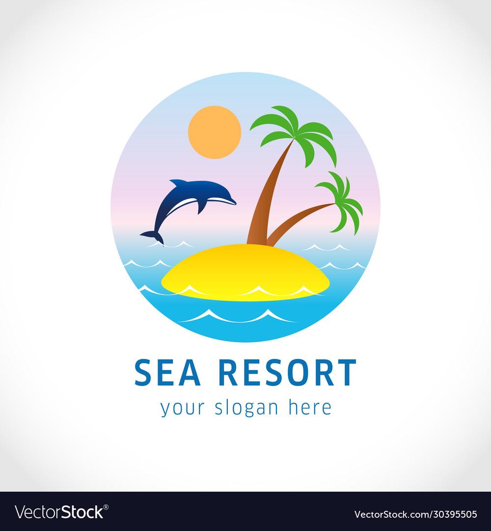 Island with palm logo